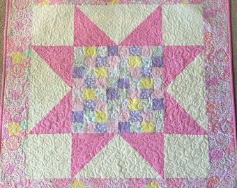 Patchwork Star Baby Quilt- Pink