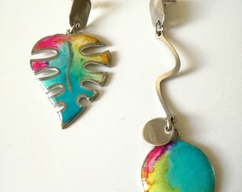 Multicolor Solitaire Earrings