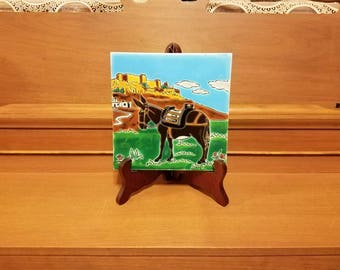 Hand made vintage tile figure of a Greek donkey made by Nasso Paradissi Rodos Hellas Greece wall decor table display kids room Christmas dec