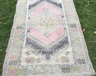 Turkish Old West Anatolian Vintage Carpet Rug 6.9 X 4.0 Ft
