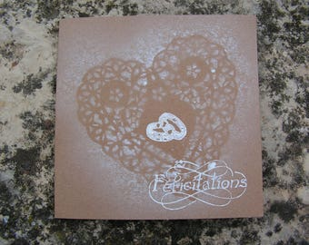 Carte félicitations mariage romantique en blanc et kraft