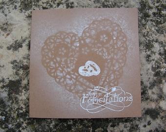 Romantic white wedding congratulations card and kraft