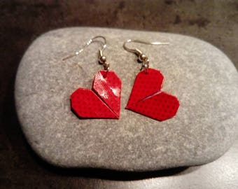 """""""Hearts"""" red origami earrings"""
