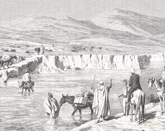 Algeria 1889, A Ford of the Tafna, Old Antique Vintage Engraving Art Print, Men, Travelers, Horses, Donkeys, Chaperones, Water, Fjord, Robes