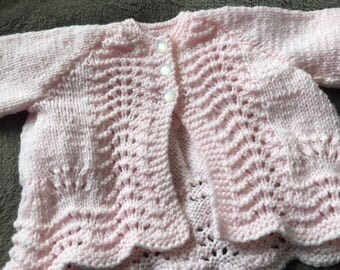 Handmade, hand knitted matinee coat for babies 0-3 months - other colours and sizes made to order