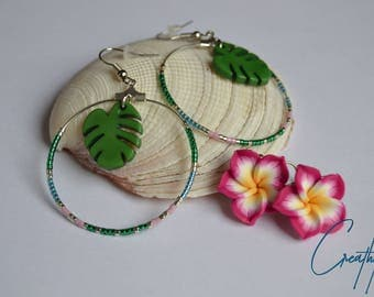 Philodendron hoop with beads Miyuki-green, blue, pink, silver