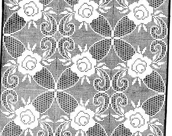 PDF Filet Crochet Pattern,Large  Floral Square to make a Tablecloth, Bedspread, throw
