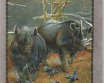 Animals, 3d card, hand made, wild animals category: rhinoceros - birthday, photo, travel, vacation, mammals, safari, Africa