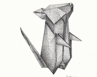 Origami Mouse (pen and ink drawing)