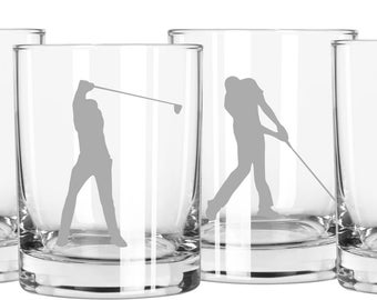 Golf Whiskey Glasses, Gift for Golfer, Gift for Dad, Golf Gift, Monogrammed Glasses, Dads Gift, Fathers Day Gift, Scotch Glasses, Golf Theme