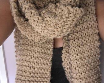 Chunky oversized handmade cream scarf