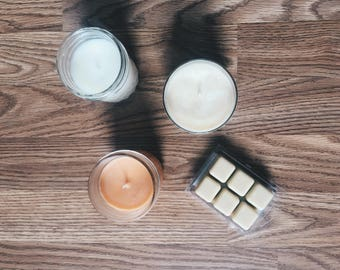 Three 8oz Candles & Package of Wax Melts BUNDLE