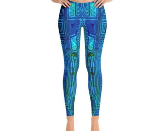 Yoga Leggings - Full Leg Leggings - Exercise Leggings - Festival Leggings - Printed Leggings - Machinima Circuit Board Leggings