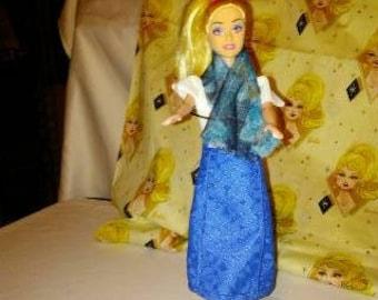 Barbie White dress blue skirt 108B