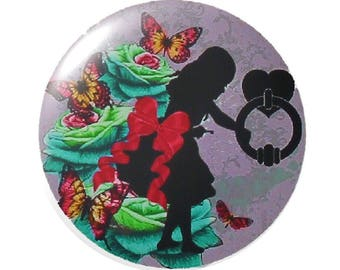 Set of 2 round 18mm Alice glass cabochon