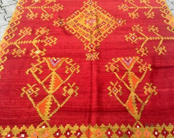Turkish Vintage Red Kilim Rug Free Shipping