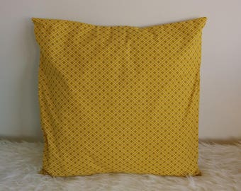Saffron yellow printed cotton Cushion cover - 40 x 40 cm