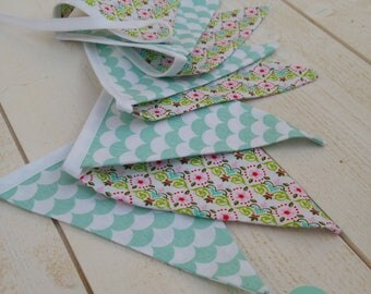 Bunting - children's room decoration - green and pink