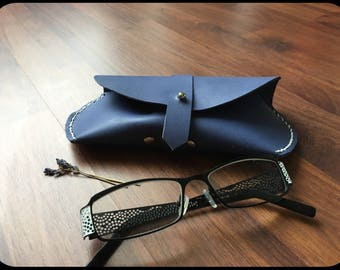 Leather eyeglass case/sun Brillenetui spectacle holder Wrap