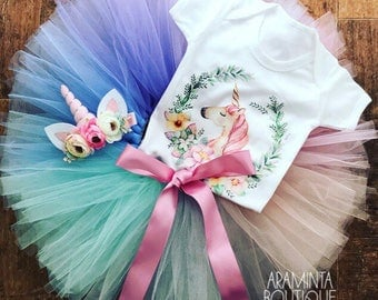 Unicorn Tutu Costume Set, tutu & headband with unicorn bodysuit. Girls Unicorn outfit. Birthday and Cake smash outfit