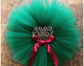 Girls Christmas Tutu, Girls Christmas Outfit,Green and Red Tutu, Burgundy Tutu,Cake Smash Outfit, Extra Fluffy, Three Layer Tutu