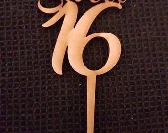 MDF Laser Cut Cup Cake Toppers  - Sweet 16 (Pack of 6)