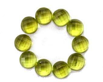 Peridot Natural Peridot Round Shaped Checker Cut Stone Approx (5.30 cts Size 5x5 mm) Price per 10 Pieces - 4003
