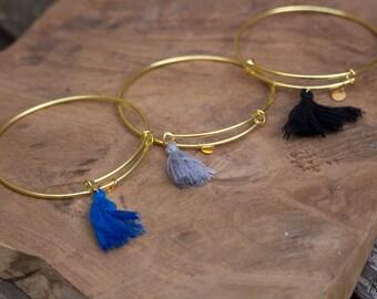 Gold tassel Bangle Bracelet