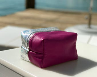 Girl Scout Cookies - Metallic Silver and Hot Pink Leather Stash Bag