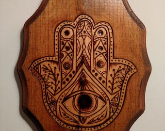 Wood burned hamsa