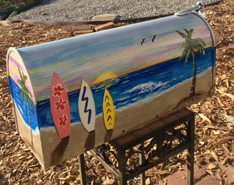 Hand painted mailboxes beach Surfboards sunset custom ordered your color, your style, your desires, your information