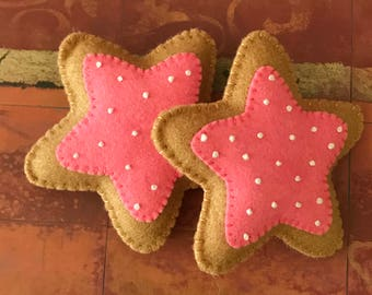 Felt Star Cookie - Pink icing with white sprinkles