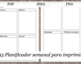 A5 Planificador semanal para imprimir, Printable A5 Planner Inserts in Spanish, A5 Weekly Planner inserts