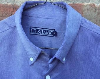 Vintage Le Shark Men's Large Blue Button Down Shirt Retro 1990's
