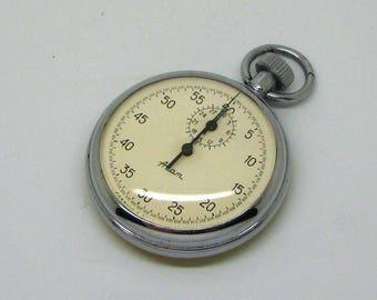Vintage Soviet Mechanical 1 Button Stop Watch 'AGAT' Made in USSR 1980s | Stopwatch - Chronometer - Sport - Gift