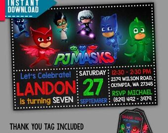 Pj Masks Invitations, Pj Masks Birthday, PJ Masks Party, Editable PDF Template, Instant Download, Editable Invitation, FREE Thank You Tags