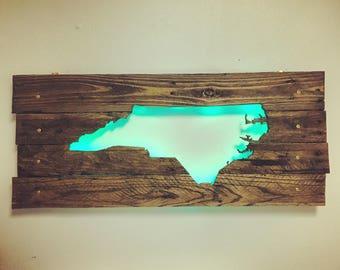 North Carolina State Cutout Wall Art - Repurposed Rustic Pallets & LED Lights