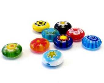 Assortment of glass beads millefiori flat way