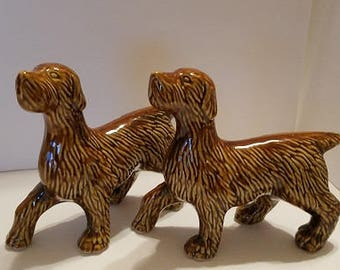 Ceramic Dog pairs made in Brazil, Golden dogs walking, pair of gorgeous ceramic dogs, vintage dog decor, Dog art, Ceramic art , mid century