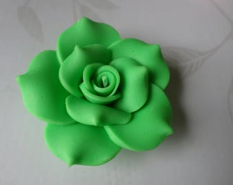 x 1 large 40 mm polymer clay green flower bead