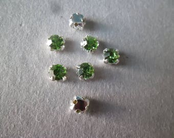 x 10 rhinestones sewing Silver 5 mm green glass crystal on claw