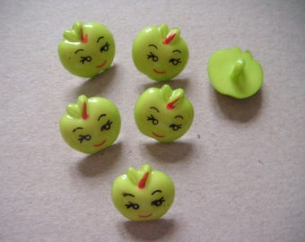 buttons x 10 children Apple green acrylic smile 17 x 17 mm