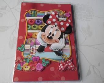 x 1 greeting card 3D pattern Minni multicolored + envelope 19.5 x 13.5 cm
