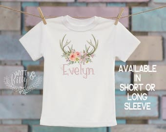 Flower Antlers Personalized Kids Shirt, Customized Kids Shirt, Rustic Kids Shirt, Boho Kids Shirt, Cute Girls Tee - T200E