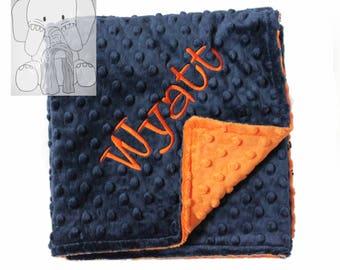 Navy and Orange Personalized Minky Blanket, Custom Minky Blanket, Personalized Baby Blanket, Baby Boy Minky Blanket, Baby Gift