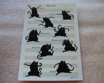 map postcard cat Maestro conductor - for use in scrapbooking or collection