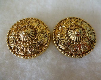 finely worked gold cabochons vintage 80's for creating earrings 26 mm set of 2