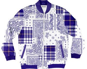 Blue Bandana Pattern Bomber Jacket