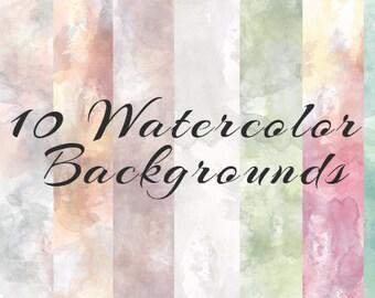 Ten Watercolor texture digital backgrounds