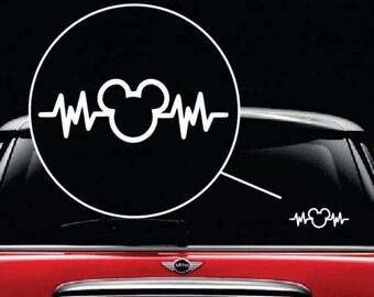 Mickey Mouse Disney Heartbeat Vinyl Window Decal Sticker